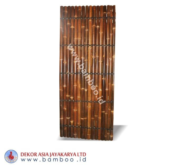 Half Cut Bamboo Fence 5 Back Slats Black Coco Rope